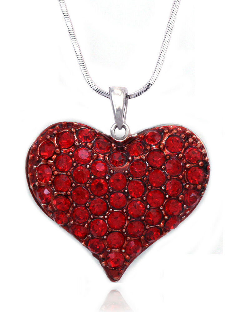 Small Red Heart Pendant Necklace Valentine's Day Birthday ...
