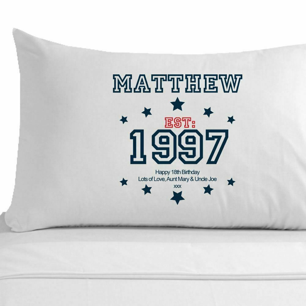 Personalised 18th Birthday Pillowcase For Him, Unique Born