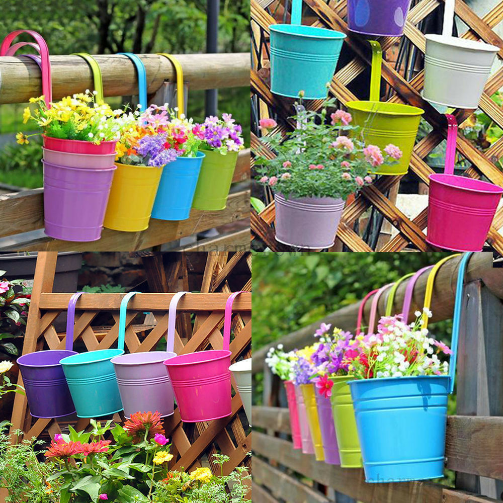 Colorful metal iron flower pot hanging balcony garden for Decoration jardin metal