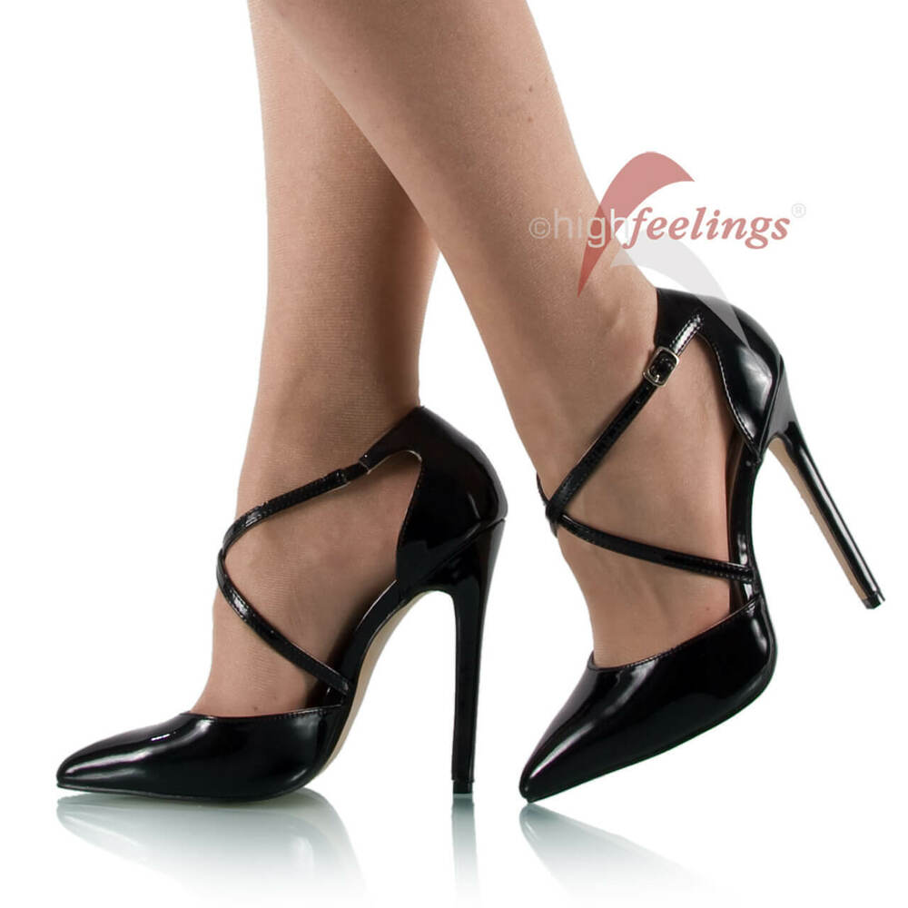 high heels pumps riemchen lack schwarz 13 15 cm absatz gr 36 45 ebay. Black Bedroom Furniture Sets. Home Design Ideas