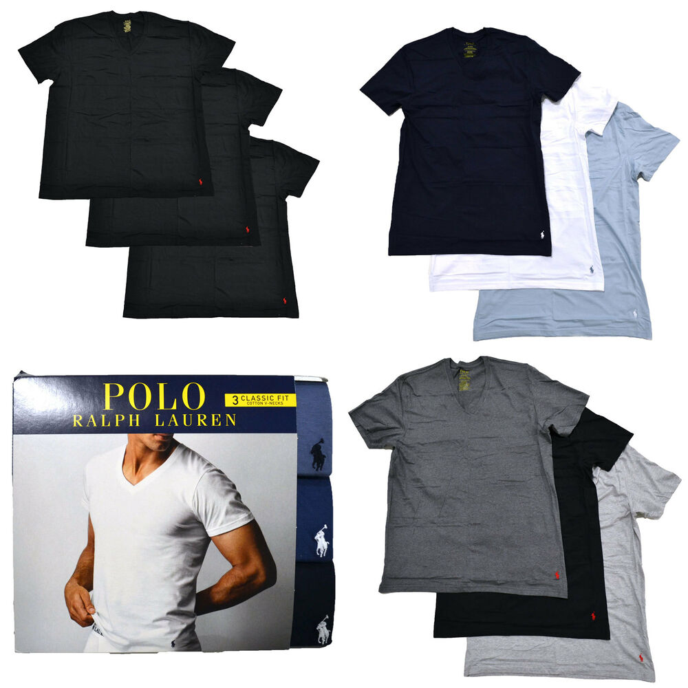 Polo ralph lauren mens 3 pack v neck undershirts pony logo for Polo shirt with undershirt