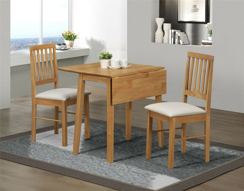 Birlea drop leaf dining set table 2 chairs solid wood for Oak dining table set
