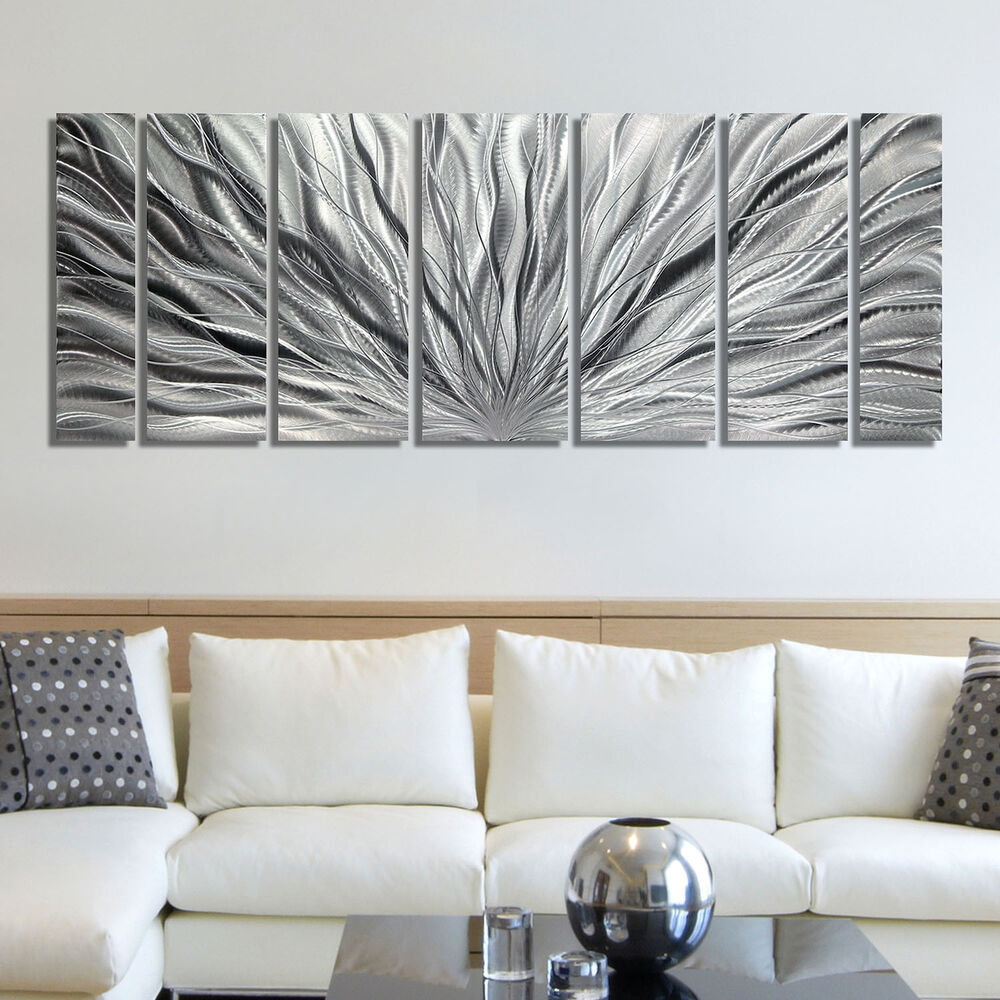 Modern abstract metal art wall sculpture silver home decor for Silver wall art