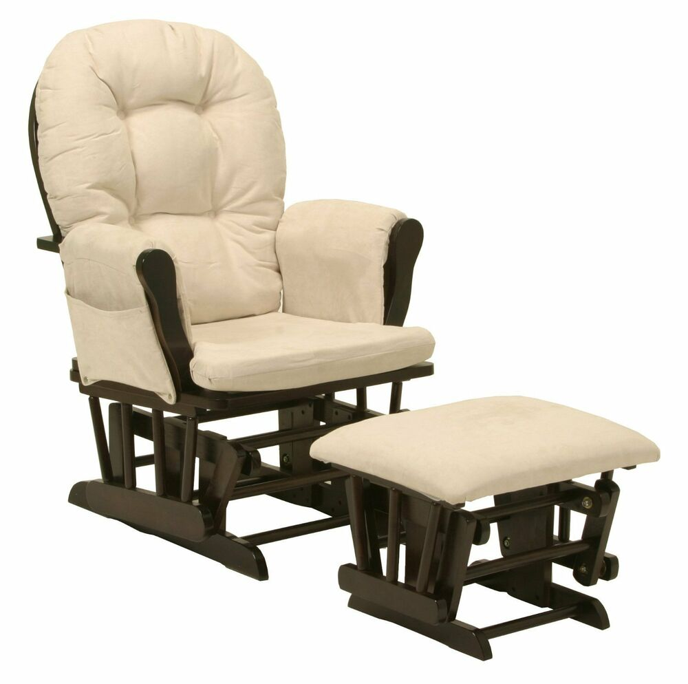 baby nursery bowback glider rocker rocking chair espresso finish with ottoman ebay. Black Bedroom Furniture Sets. Home Design Ideas