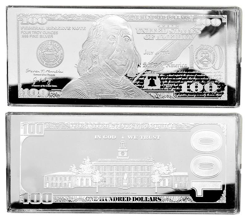 2017 Dated Proof 4oz Currency Unc Silver Bar Franklin 100