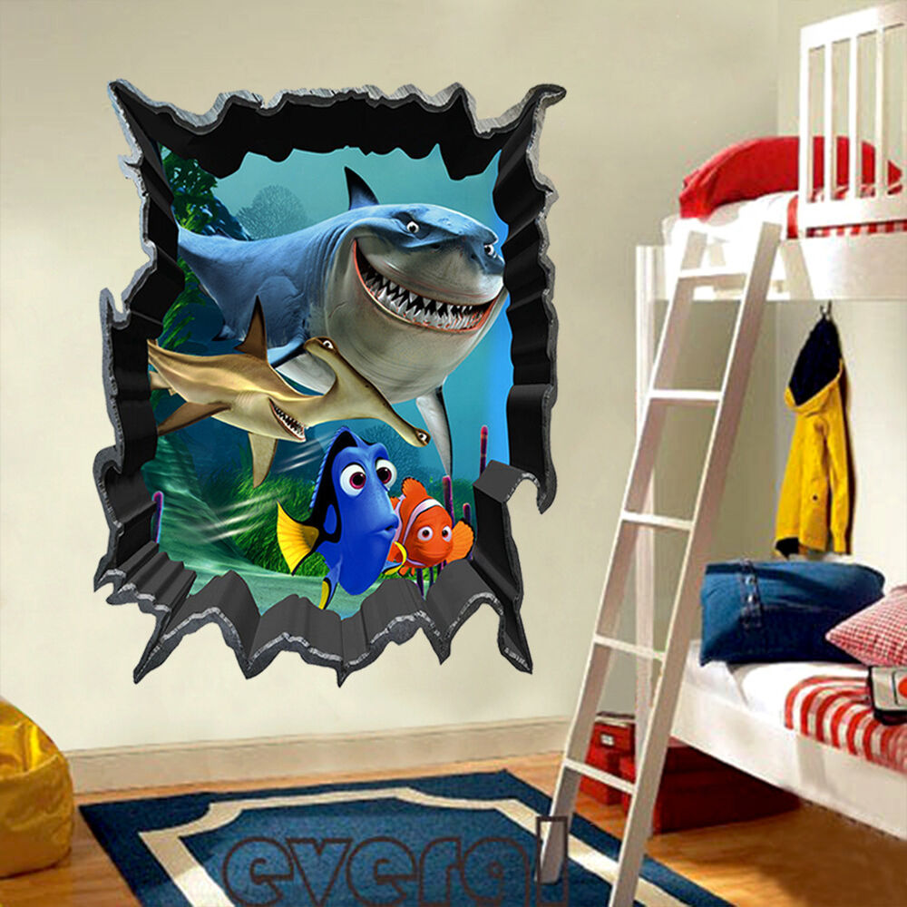 Finding nemo dory bruce 3d view art pvc wall stickers for Home decor 3d stickers