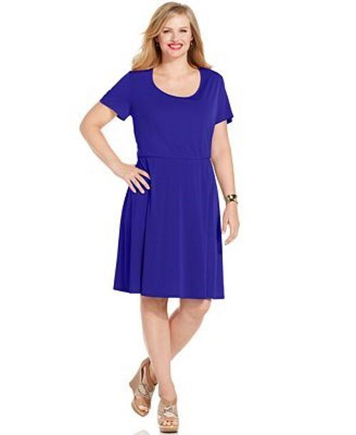 NY Collection Purple Orchid Plus Size Short-Sleeve A-Line ...