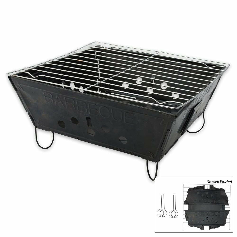 foldable folding bbq barbecue flat pack portable camping. Black Bedroom Furniture Sets. Home Design Ideas