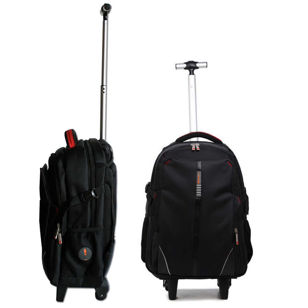 business wheelie luggage backpack rucksack trolley bag with wheels and handle ebay. Black Bedroom Furniture Sets. Home Design Ideas