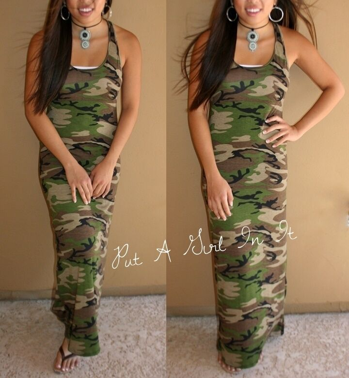 075cc1725dd USA OLIVE GREEN CAMO CAMOUFLAGE MILITARY TANK MAXI DRESS SUNDRESS S M L XL  BOHO