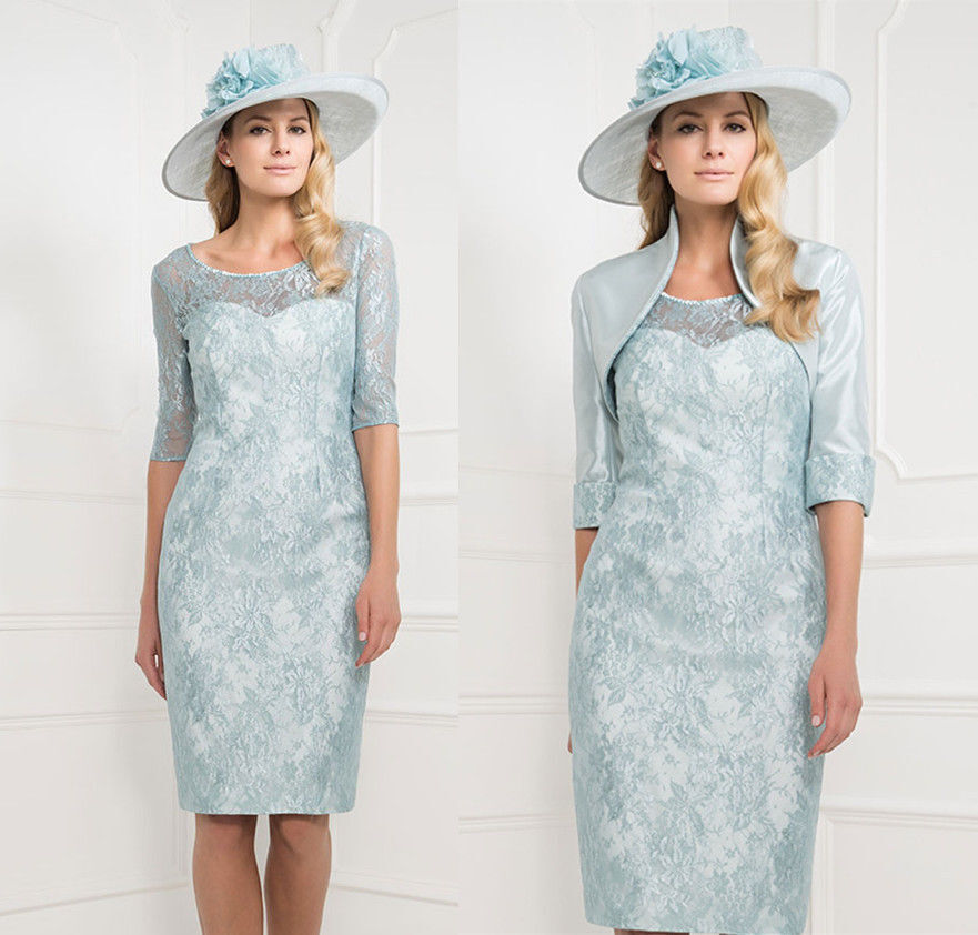 2017 elegant pale blue mother of the bride lace dresses for Dress and jacket outfits for weddings