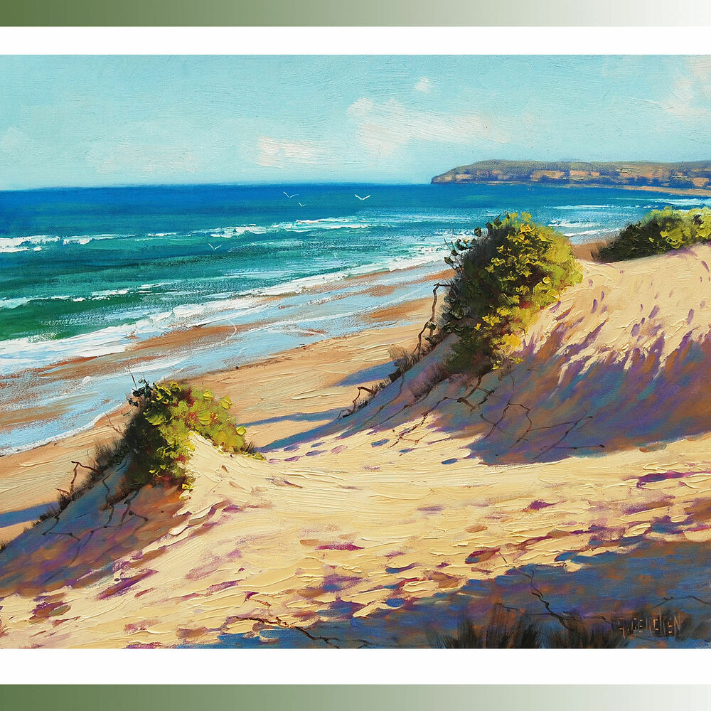 Beach painting seascape oil canvas ocean surf sand dunes ...