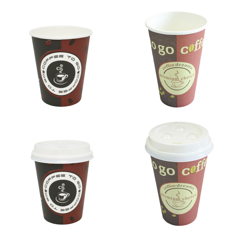 hartpapier pappbecher kaffeebecher coffee to go mit ohne deckel 0 2l 0 3l ebay. Black Bedroom Furniture Sets. Home Design Ideas