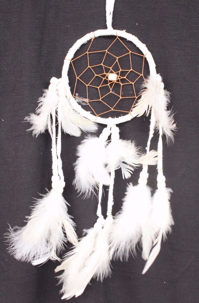New white dream catcher handmade with leather feathers for Native american handmade crafts
