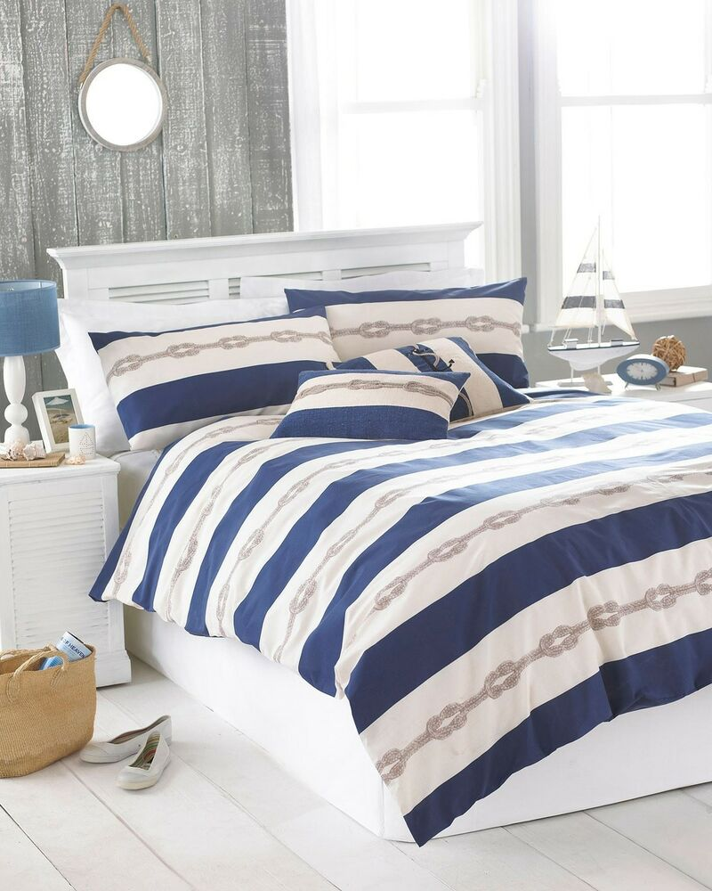 Nautical Bedding King: NAUTICAL KNOT NAVY BLUE CREAM KING SIZE COTTON BLEND DUVET