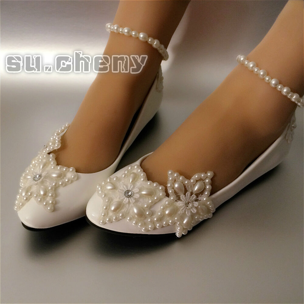 wide width wedding shoes low heel white lace wedding shoes pearls ankle trap bridal flats 1410