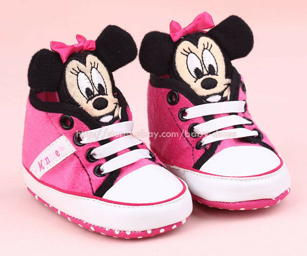Infant Baby Girl 3D Pink Minnie Mouse Crib Shoes Size 0 6