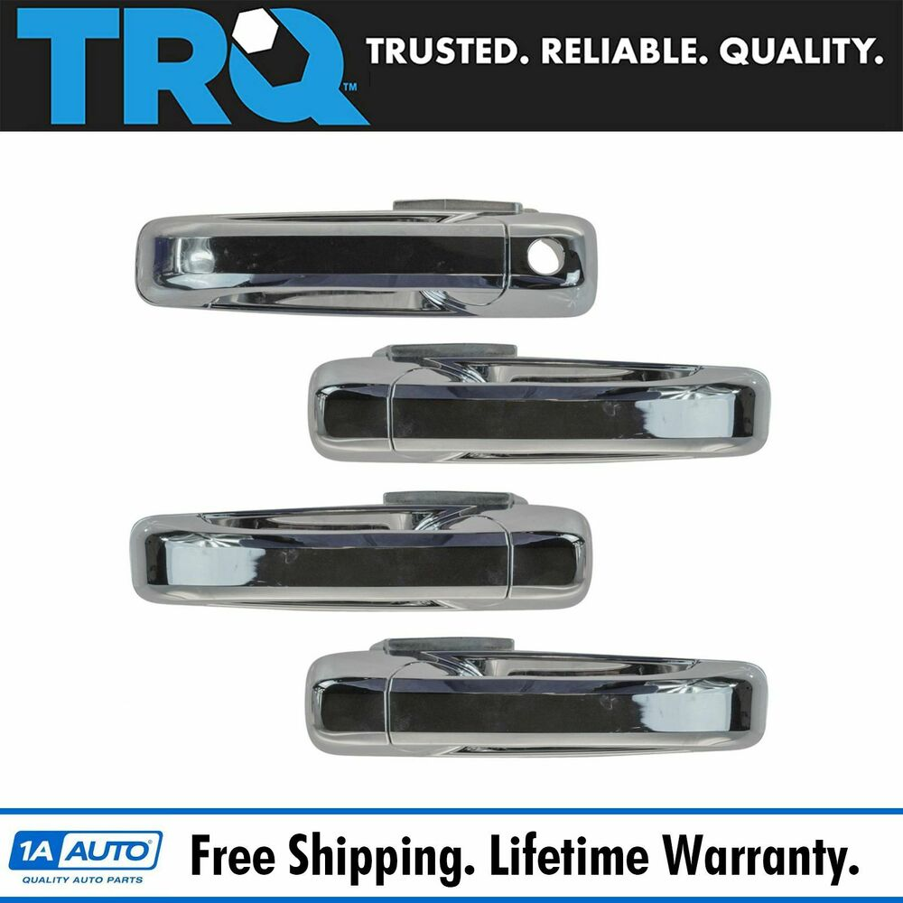 Outside exterior door handle chrome front rear kit set of for Rear exterior door