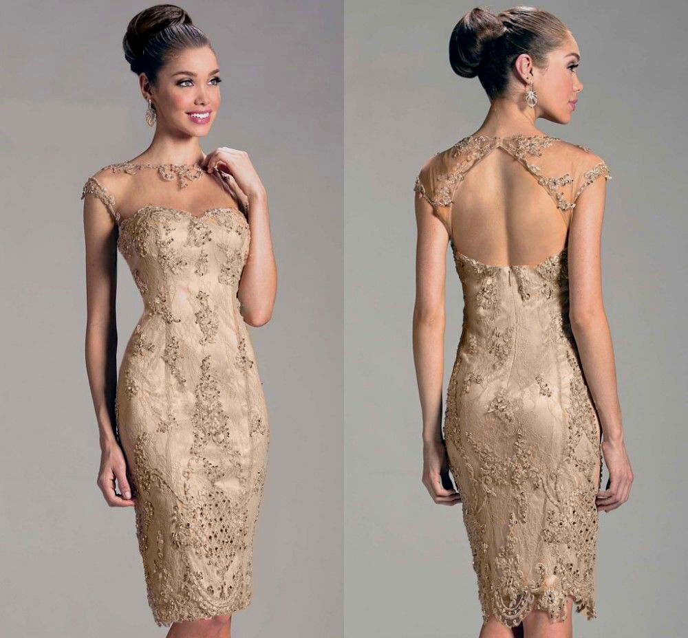 Stunning Knee Length Champagne Mother Of The Bride Dresses