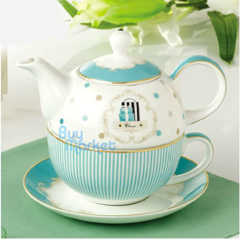 tea for one teapot set with cup saucer royal princess blue stripe finebone china ebay. Black Bedroom Furniture Sets. Home Design Ideas