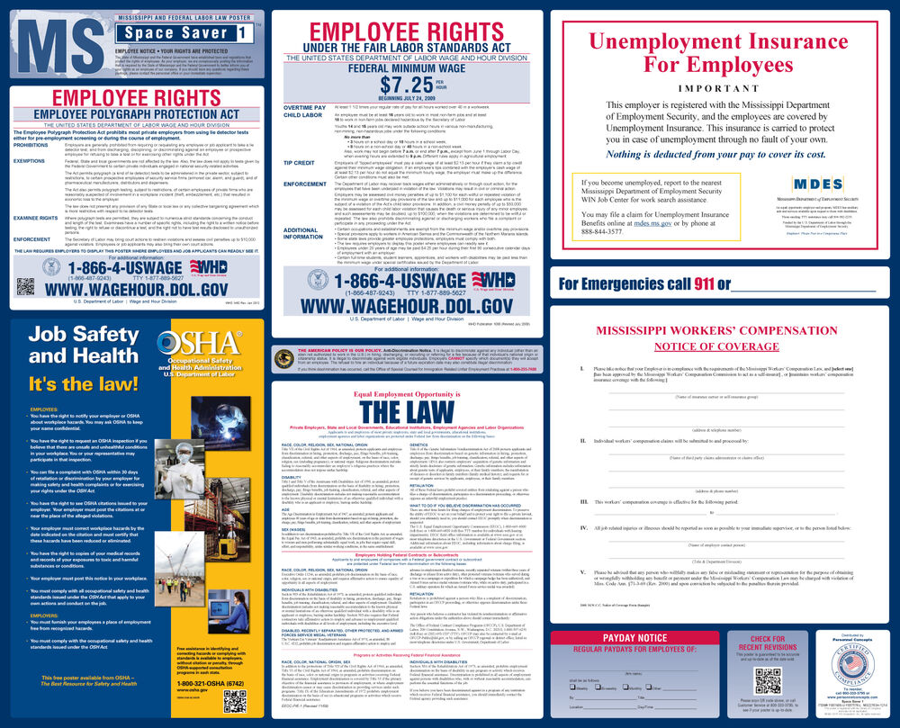 2017 mississippi state amp federal labor law poster   all on