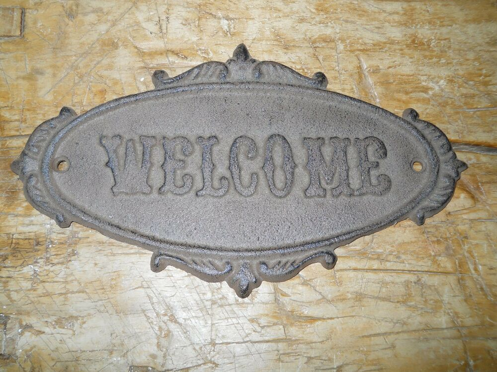 cast iron antique victorian style oval welcome plaque sign rustic wall decor 2 ebay. Black Bedroom Furniture Sets. Home Design Ideas
