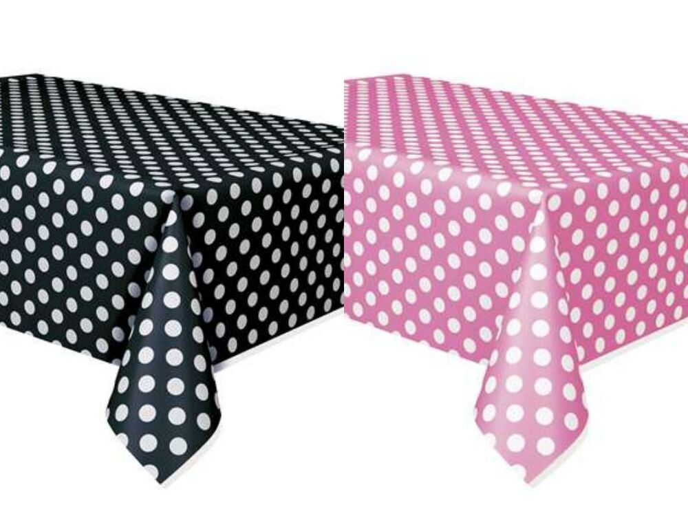 Set of 2 minnie mouse polka dots table covers pink black for Red and white polka dot decorations