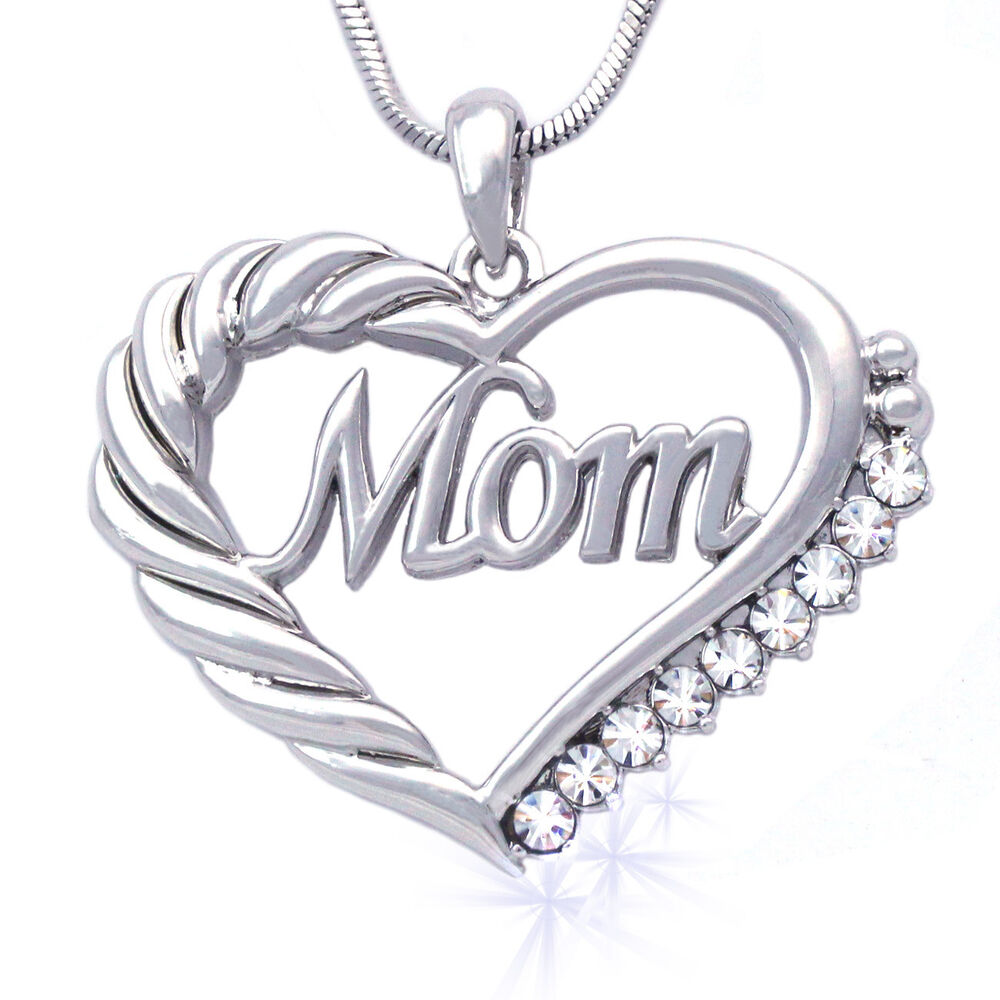 Heart MOM Necklace Mothers Day Birthday Gift for Wife MOM ...