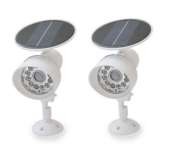 2PACK White New Solar Powered Motion Sensor Security Light