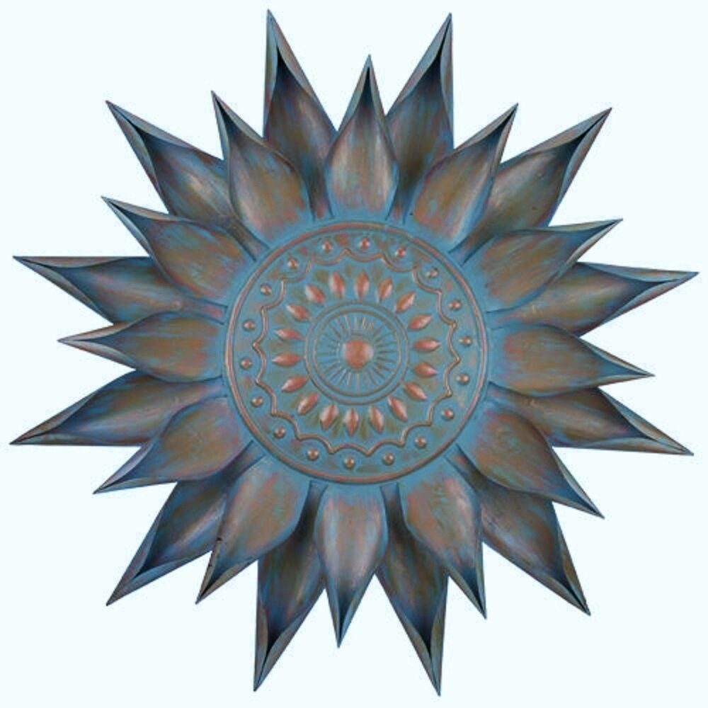 Copper Turquoise Giant Flower Bloom Wall Art Decor Metal