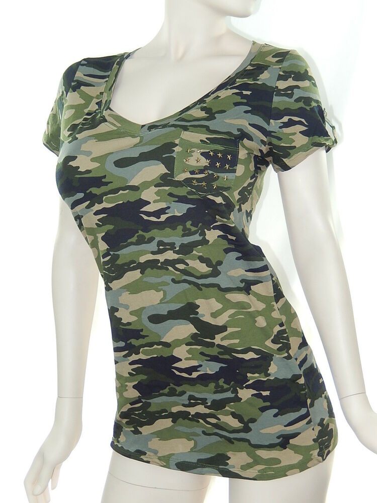 Women cotton spandex army camouflage v neck fitted top t for Cotton and elastane t shirts