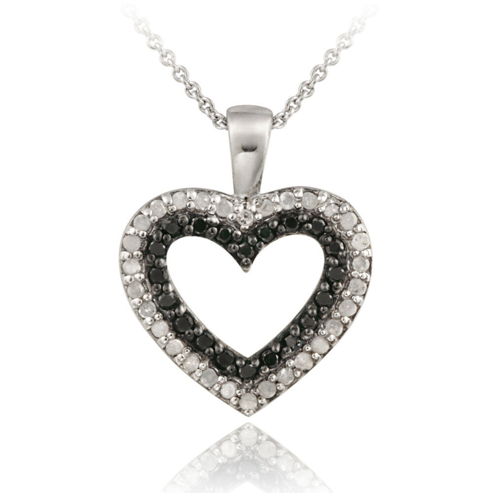 925 Silver 1 2ct Black Amp White Diamond Heart Necklace