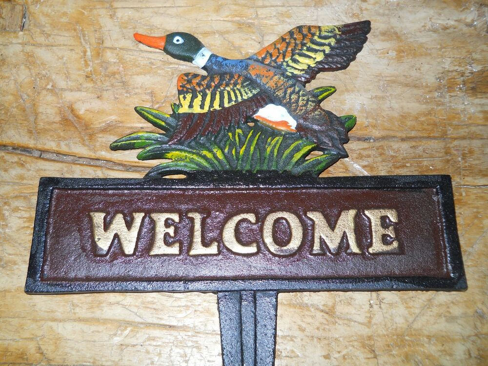 Cast iron duck welcome sign garden stake home decor for Outdoor decorative signs