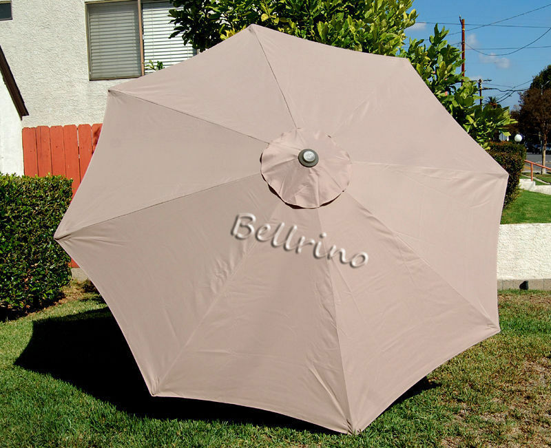 tan umbrella canopy 9 ft 6 ribs patio market outdoor replacement cover oo ebay. Black Bedroom Furniture Sets. Home Design Ideas