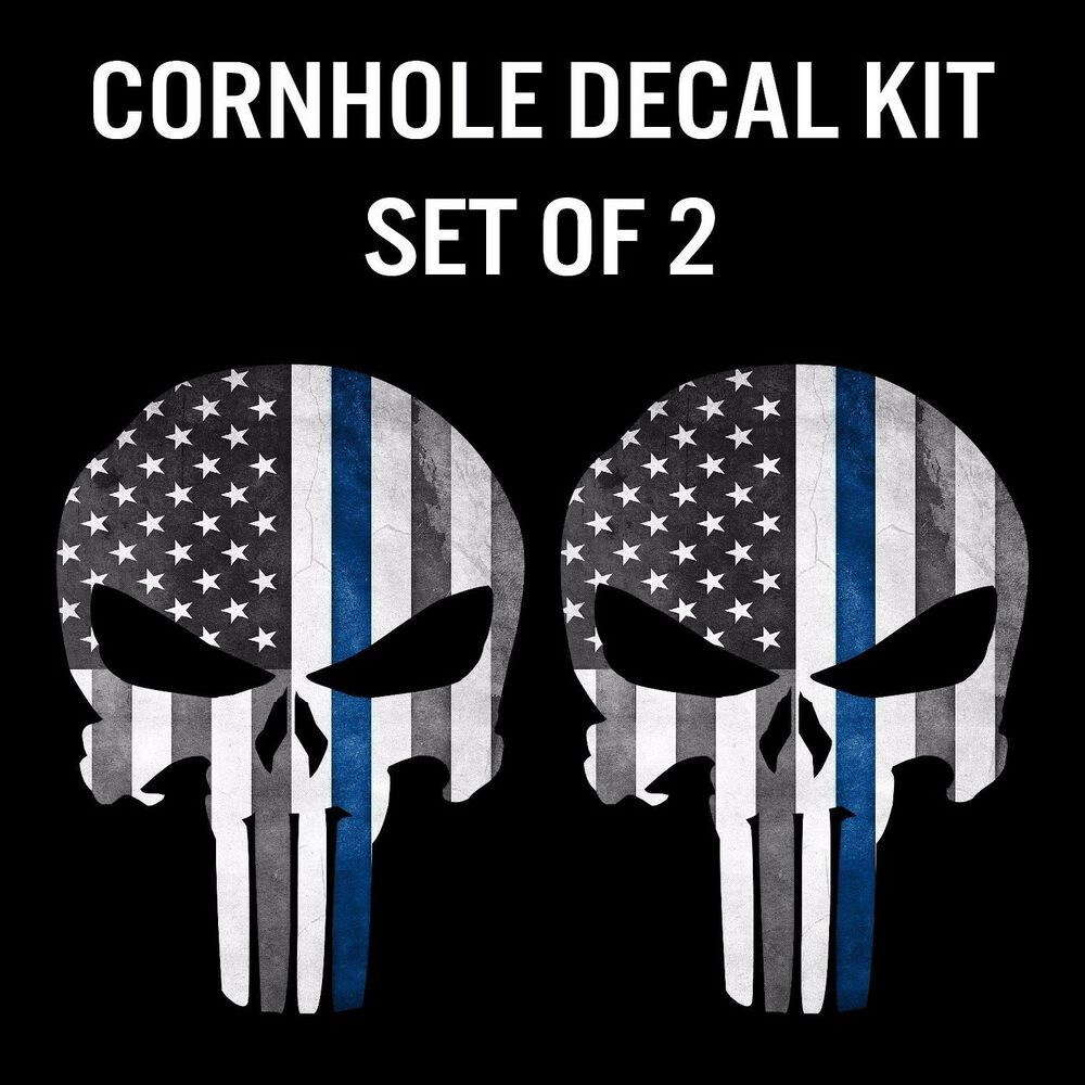 Punisher Skull Police Grunge Blue Line Cornhole Decal