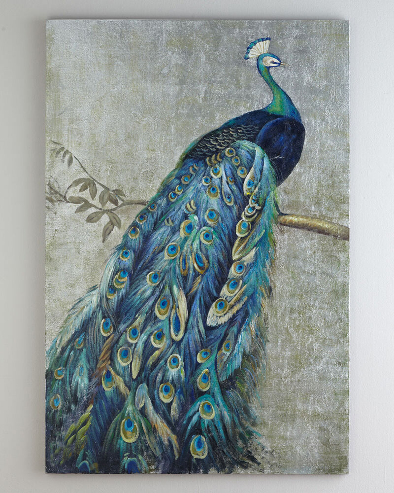 Framed Handmade Peacock Oil Painting With Silver Foil