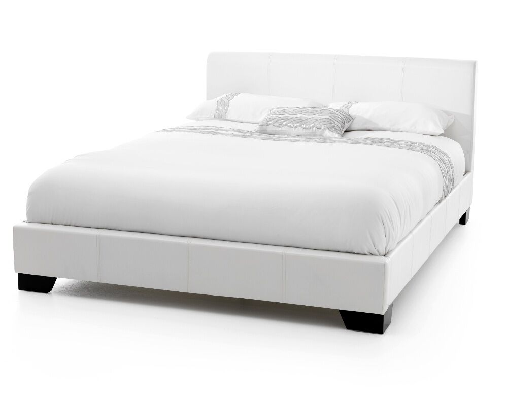 exclusive bed world 4ft6 white faux leather bed frame ebay. Black Bedroom Furniture Sets. Home Design Ideas