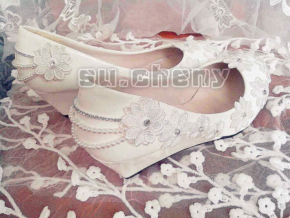 White Lace Wedge Wedding Shoes