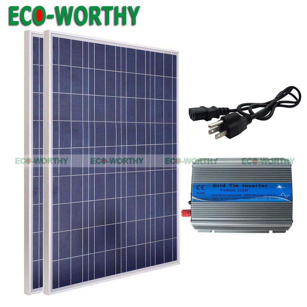 200Watt Solar Panel Grid Tie Kits-2x100W Solar Panels ...