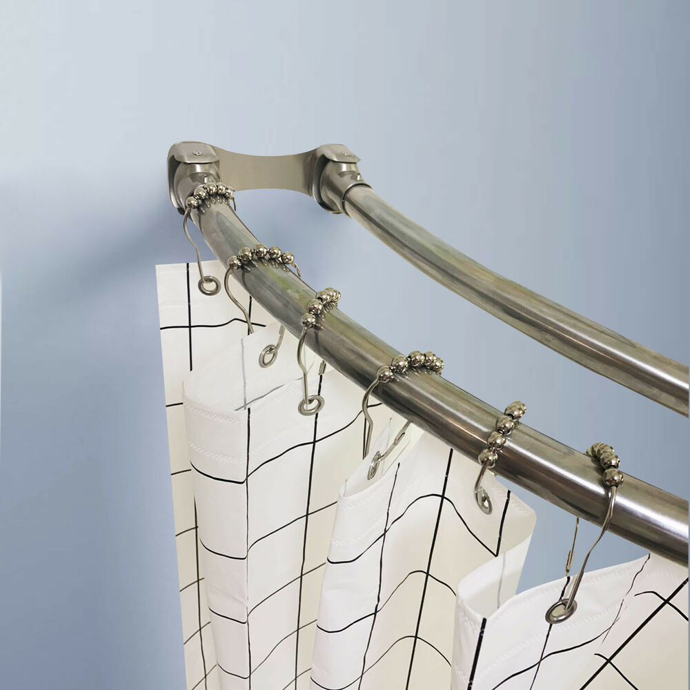 Details About Naiture 60 Stainless Steel Curved Double Shower Curtain Rod In Chrome Finish