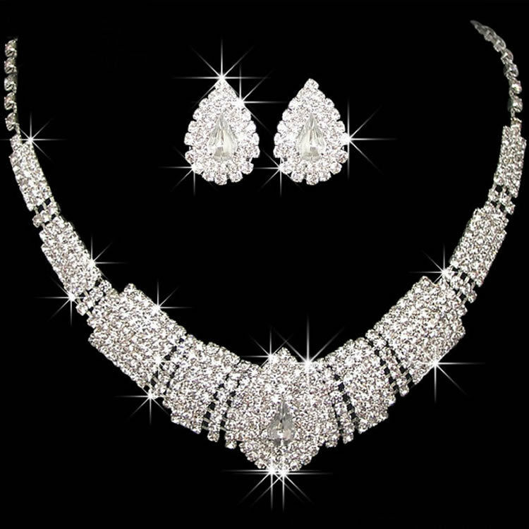 Wedding Bridal Party Prom Drop Rhinestone Crystal Necklace Earrings Jewelry Sets | EBay