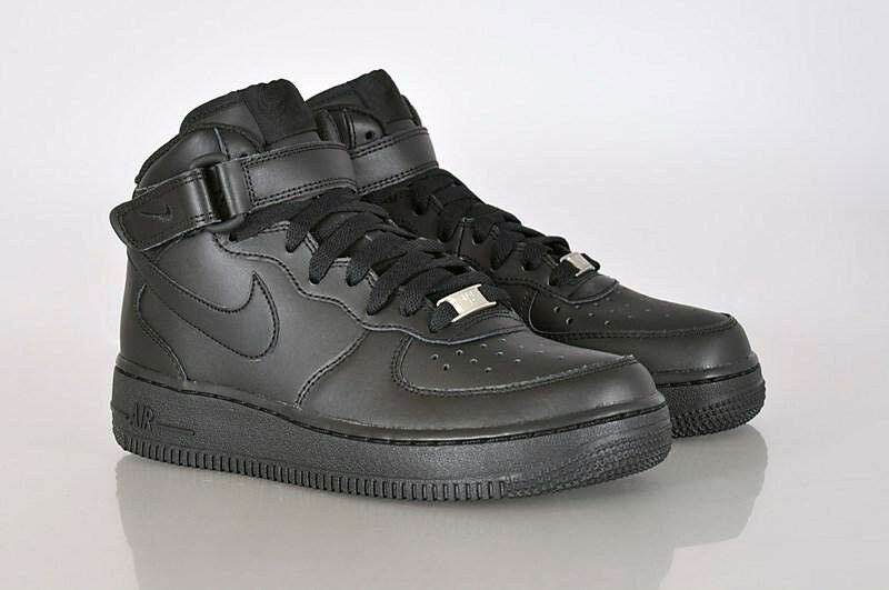 huge selection of 19b98 a9023 Nike Air Force 1 GS Boys Girls Kids Junior Mid Top Trainers Shoes - All  Black   eBay