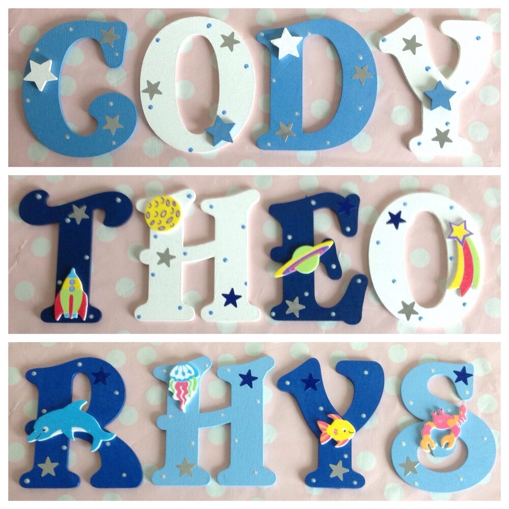 new baby boys name wooden letter bedroom nursery door wall art any colour theme ebay. Black Bedroom Furniture Sets. Home Design Ideas