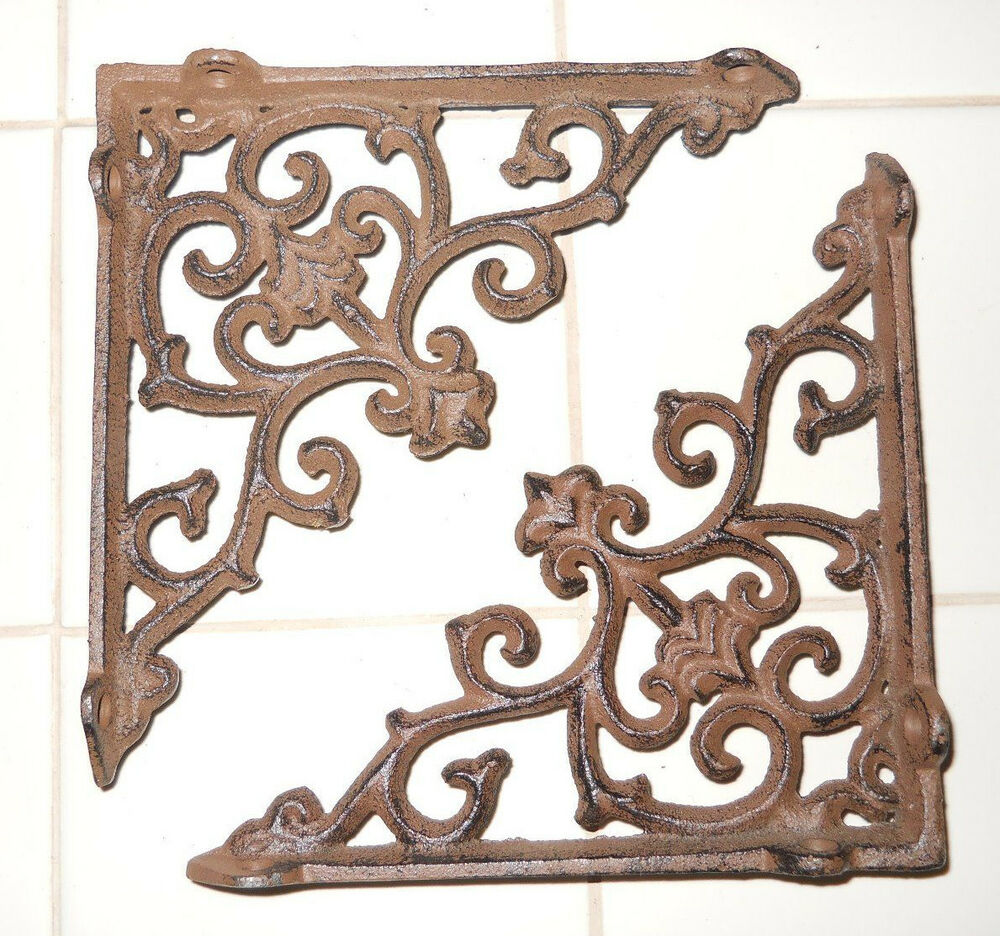2 Cast Iron Antique Style Arrow Brackets Garden Braces