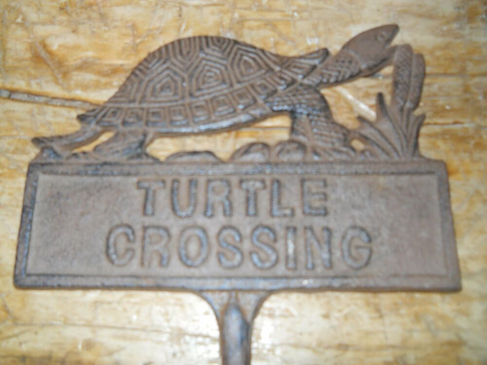 Cast iron turtle crossing sign garden stake home decor for Outdoor decorative signs