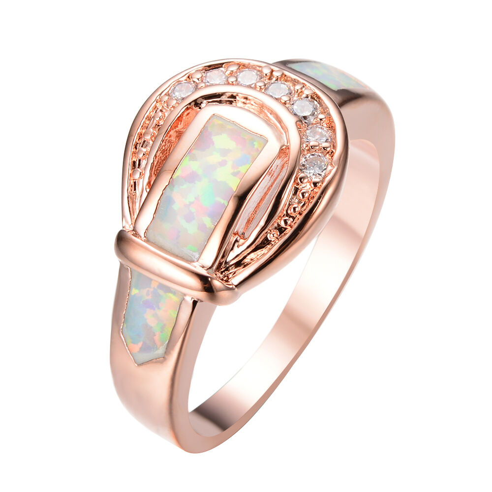 white fire opal cz engagement belt buckle rings rose gold