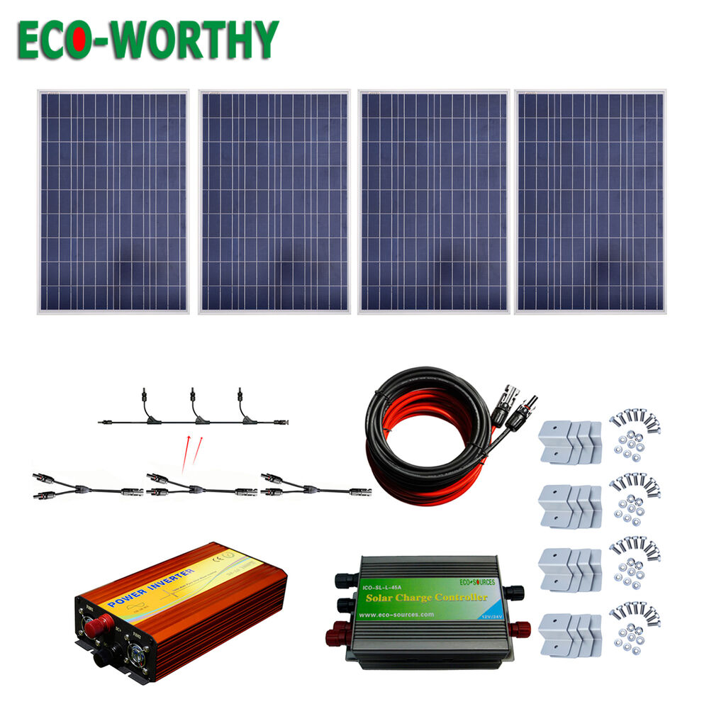 400w Solar Kit 4 100w Solar Panel With 1kw Pure Sine Wave