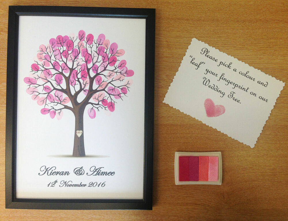 Personalised Wedding Gift Book : PERSONALISED WEDDING FINGER THUMB PRINT GUEST BOOK TREE DECORATION ...