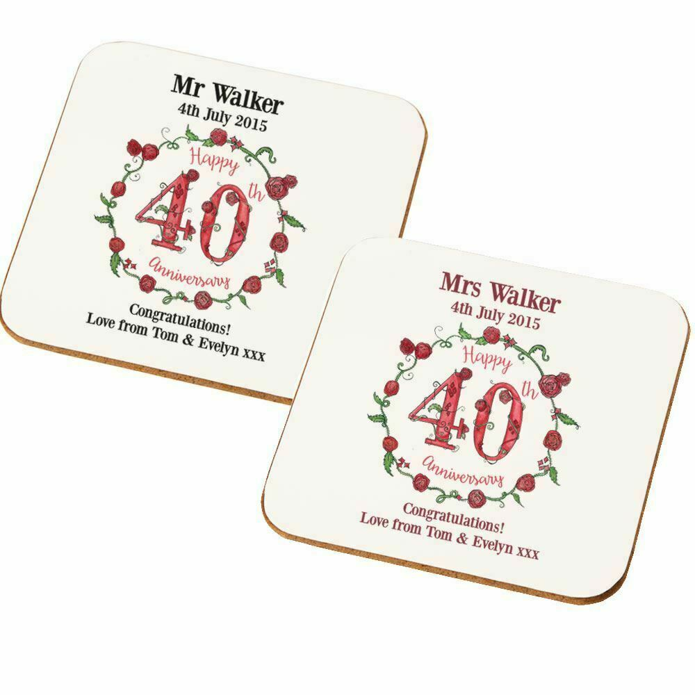 Wedding Gifts For Couples Over 40 : ... Ruby Wedding Anniversary Double Drinks Coaster Set Couple Gift eBay