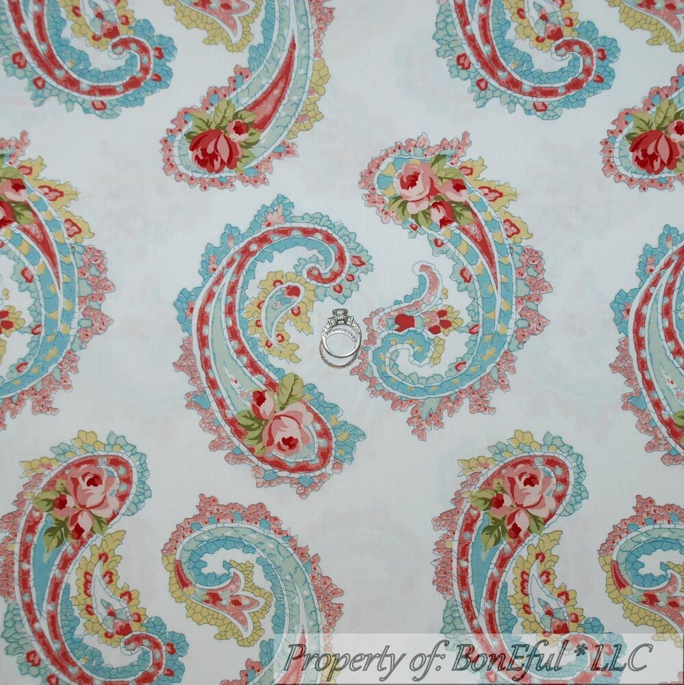 Boneful fabric fq cotton decor quilt white rose pink for Victorian floral fabric
